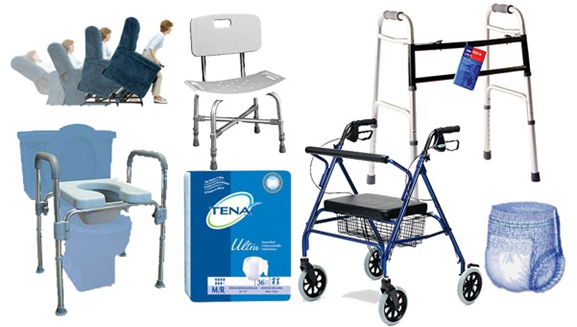 We offer a variety of products: Mobility aids, incontinence supplies, scooters, bathroom aids, hospital beds, wheelchairs, orthopedics, lift chairs, and more